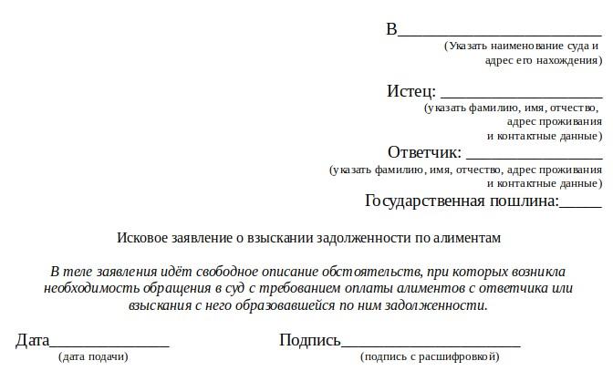 Как написать заявление наудержание алиментов (образец)