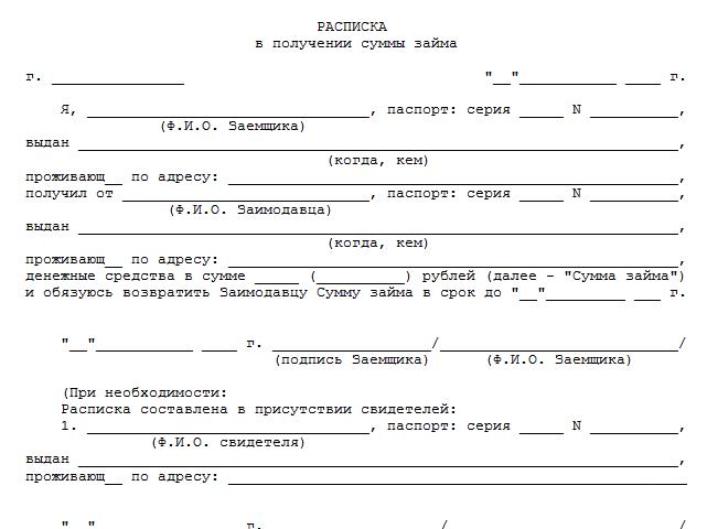 примеры расписок