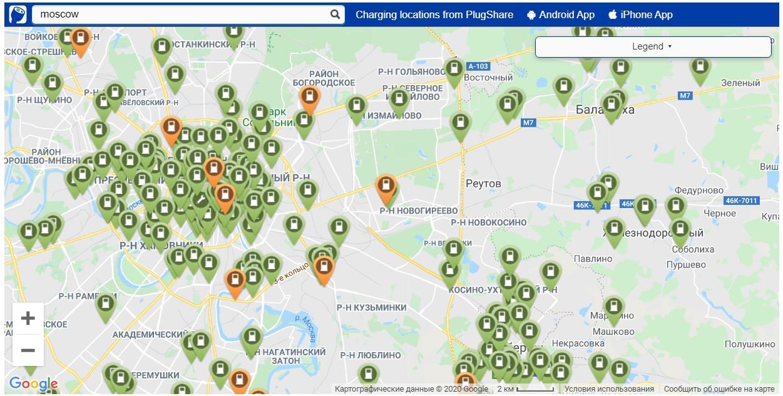 Карта электрозаправок в России